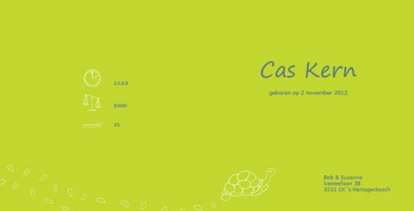 Geboortekaartje Cas, binnenzijde