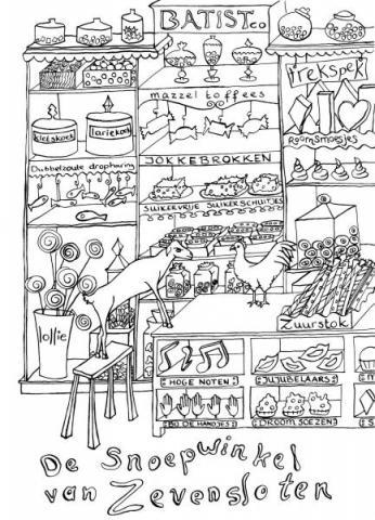 Kleurplaat, snoepwinkel van zevensloten